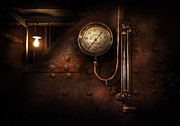 Boiler Photo Acrylic Prints - Steampunk - Boiler Gauge Acrylic Print by Mike Savad