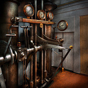 Lever Posters - Steampunk - Controls - The Steamship control room Poster by Mike Savad