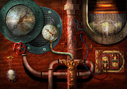 Gauges Posters - Steampunk - Controls Poster by Mike Savad