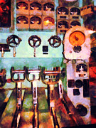 Steam Engine Framed Prints - Steampunk - Electrical Control Room Framed Print by Susan Savad