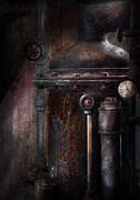 Industrial Metal Prints - Steampunk - Handling Pressure  Metal Print by Mike Savad