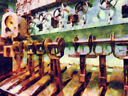 Steam Engine Prints - Steampunk - Levers in Underwater Vessel Print by Susan Savad