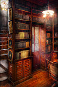 Librarian Framed Prints - Steampunk - The semi-private study  Framed Print by Mike Savad