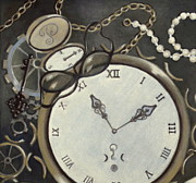 Clock Pastels Posters - Steampunk Adventure Detail 1 Poster by Pamela Poole