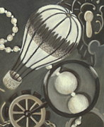 Balloon Pastels Prints - Steampunk Adventure Detail 2 Print by Pamela Poole