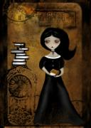 Goth Girl Digital Art Prints - Steampunk Bibliophile Print by Charlene Zatloukal