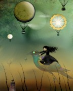 Goth Girl Digital Art - Steampunk Flight of Fantasy by Charlene Zatloukal