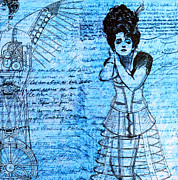 Line Drawings Prints - Steampunk Girls in Blues Print by Nikki Marie Smith