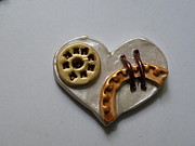 Paint Jewelry - Steampunk Heart Pin 2 by Megan Brandl