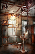 Lamp Light Prints - Steampunk - Machinist - The grinding station Print by Mike Savad