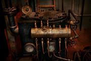 Gauges Acrylic Prints - Steampunk - Plumbing - The valve matrix Acrylic Print by Mike Savad