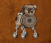 Chinese Pug Posters - Steampunk Pug Poster by Mary Ogle