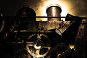 Robots Art - Steampunk Railway Transcontinental Line . Where Steam Is Still King . Gold Version by Wingsdomain Art and Photography
