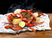 Crawfish Painting Posters - Steamy Crawfish Poster by Elaine Hodges