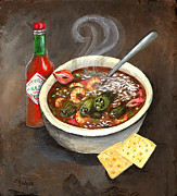 Gumbo Paintings - Steamy Okra Gumbo by Elaine Hodges