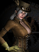 Goth Girl Digital Art Prints - Steamy SteamPunk Print by Alexander Butler