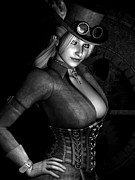 Goth Girl Digital Art Prints - Steamy SteamPunk BW Print by Alexander Butler