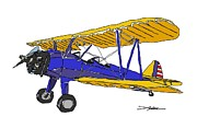 Biplane Drawings - Stearman PT-13 by Arlon Rosenoff