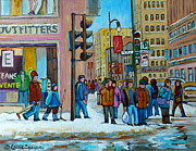 Store Fronts Painting Metal Prints - Ste.catherine And Peel Streets Metal Print by Carole Spandau