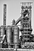 Chuck Kuhn Photography Prints - Steel Blast Furnace BW Print by Chuck Kuhn