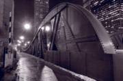 Bridge Prints - Steel Bridge Chicago Black and White Print by Steve Gadomski