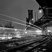 Train On Bridge Prints - Steel Bridge With Train Passing Print by Zeb Andrews