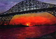 Bay Bridge Painting Metal Prints - Steel Giant at Sunset Metal Print by Al  Molina