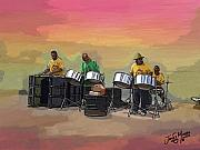 Music Pastels - Steel Pan Players Antigua by James  Mingo