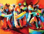 West Indies Paintings - Steel Pan Revellers by Cynthia McLean
