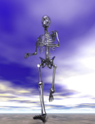 Running Digital Art - Steel Running Skeleton on wet sand by Nicholas Burningham