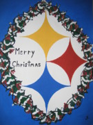 Pittsburgh Painting Framed Prints - Steelers Christmas Card Framed Print by Jeffrey Koss