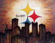 Football Painting Acrylic Prints - Steelers. Acrylic Print by Mark M  Mellon