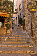 Medieval Village Prints - Steep Street in St Paul de Vence Print by Louise Heusinkveld