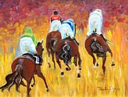 Horse Race Framed Prints - Steeple Chase Framed Print by Pauline Ross
