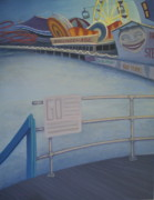 Amusement Park Ride Painting Originals - Steeplechase Pier by Suzn Smith