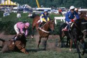 Steeplechase Race Framed Prints - Steeplechase Spill - 1 Framed Print by Randy Muir