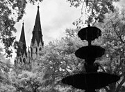 Savannah Infrared Photography Framed Prints - Steeples and Fountain Framed Print by Jeff Holbrook