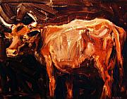 Steer Paintings - Steer by Brian Simons