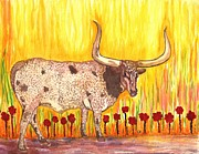 Longhorn Artist Framed Prints - Steer Clear Framed Print by Connie Valasco