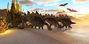 Gigantic Digital Art - Stegosaurus Dinosaur by Corey Ford