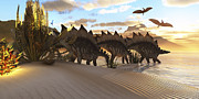Stegosaurus Digital Art - Stegosaurus Dinosaurs Graze Among by Corey Ford