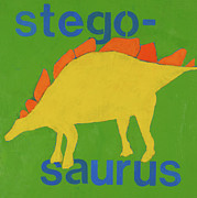 Dinosaur Painting Prints - Stegosaurus Print by Laurie Breen