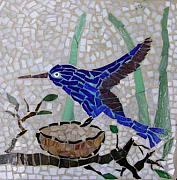 Stone Glass Art - Step Stone Blue Bird by Cristina Cassina