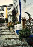 Village In Europe Posters - Step Street in Obidos Poster by Sarah Loft