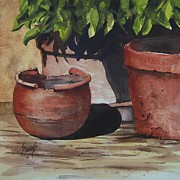 Flower Pots Prints - Stephanies Pots Print by Sam Sidders