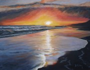 Reflections In Water Painting Posters - Stephanies Sunset Poster by Donna Tuten