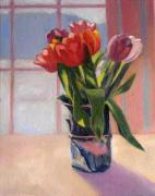 Window Art On Canvas Posters - Stephanies Vase with Red Tulips Poster by Jane  Simonson
