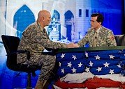 Gulf War 2 Framed Prints - Stephen Colbert Interviews Marine Framed Print by Everett