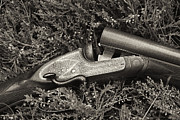 E Black Photo Prints - Stephen Grant and Sons Side Lever Twelve Bore - D003359-bw Print by Daniel Dempster