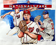 Mlb Drawings Prints - Stephen Strasburg Print by Dave Olsen